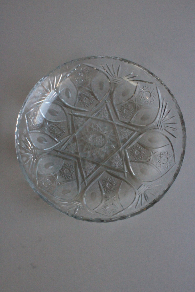 Large Quality Cut Glass Platter Plate Dish Cake Table Centre - Kernow Furniture
