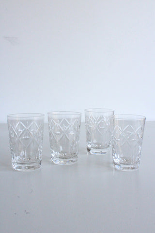 4 Vintage Cut Glass Water Glasses - Kernow Furniture