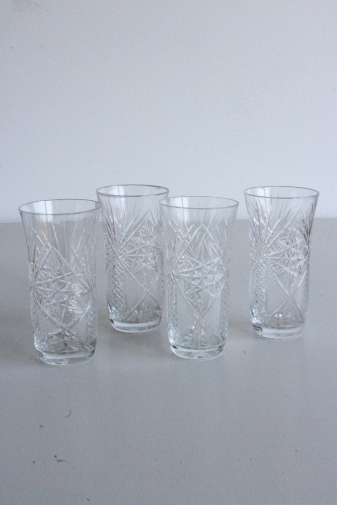 4 Vintage Cut Glass Hi Ball Water Glasses - Kernow Furniture