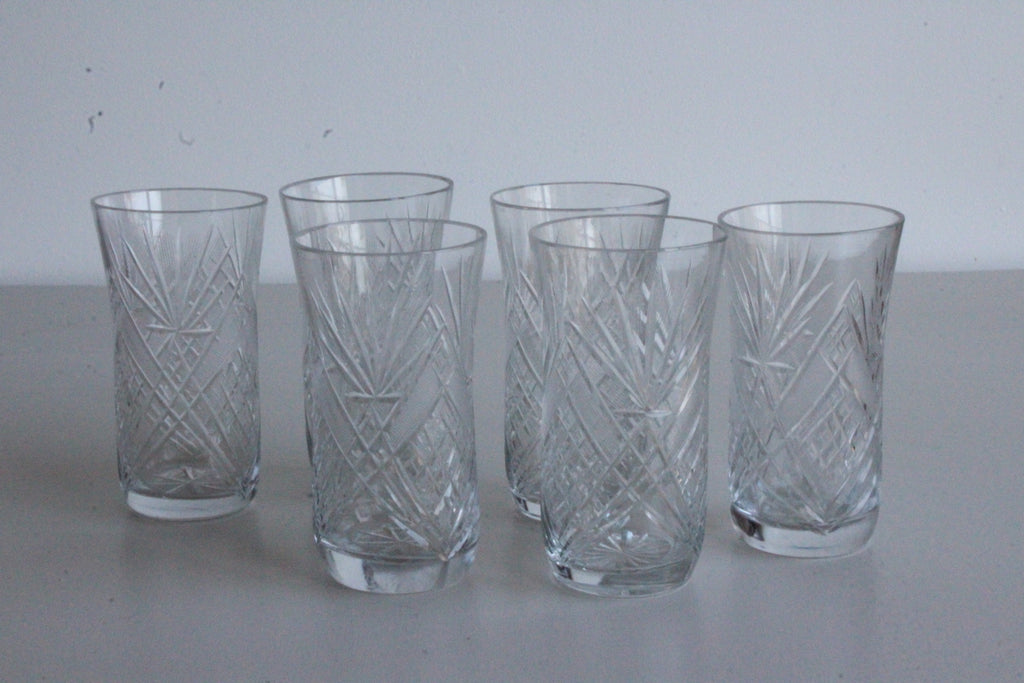 6 Vintage Cut Glass Hi Balls Water Glasses - Kernow Furniture