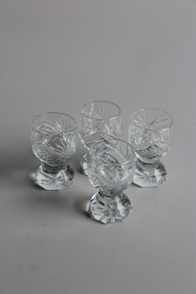 4 Vintage Cut Glass Liquer Glasses - Kernow Furniture