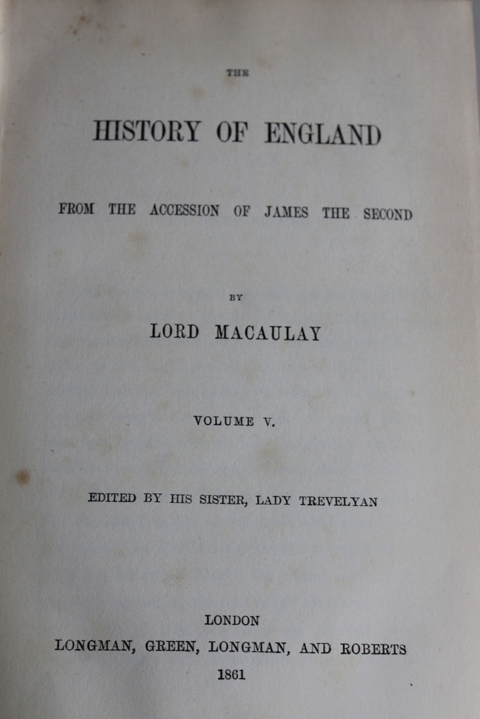History of England Tenth Edition Macaulay - Kernow Furniture