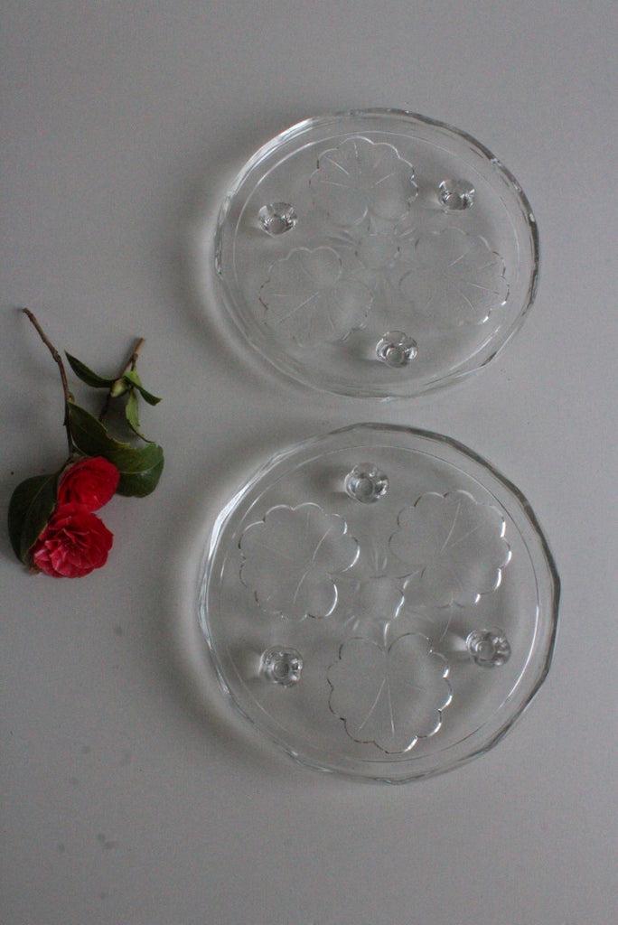 Pair Vintage Glass Cake Plates Platter Stand - Kernow Furniture