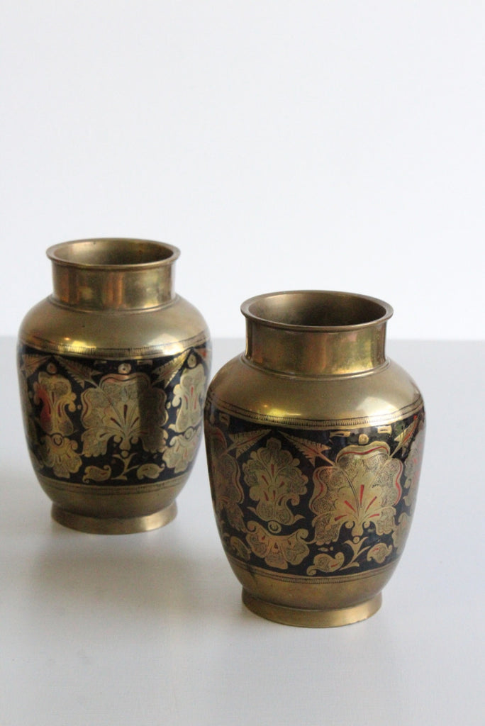 Pair Eastern Indian Decorative Brass Vase - Kernow Furniture