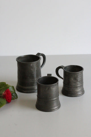 3 Antique Pewter Tankards - Kernow Furniture