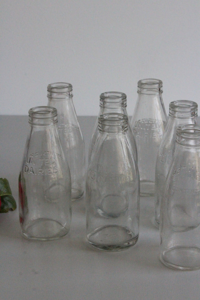 8 Vintage 1/2 Pint Glass Milk Bottles - Kernow Furniture