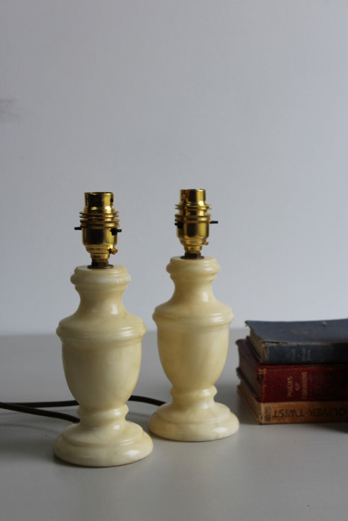 Pair Alabaster Table Lamps - Kernow Furniture
