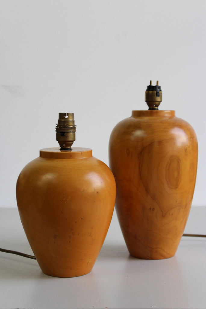 Pair Turned Wooden Table Lamps - Kernow Furniture