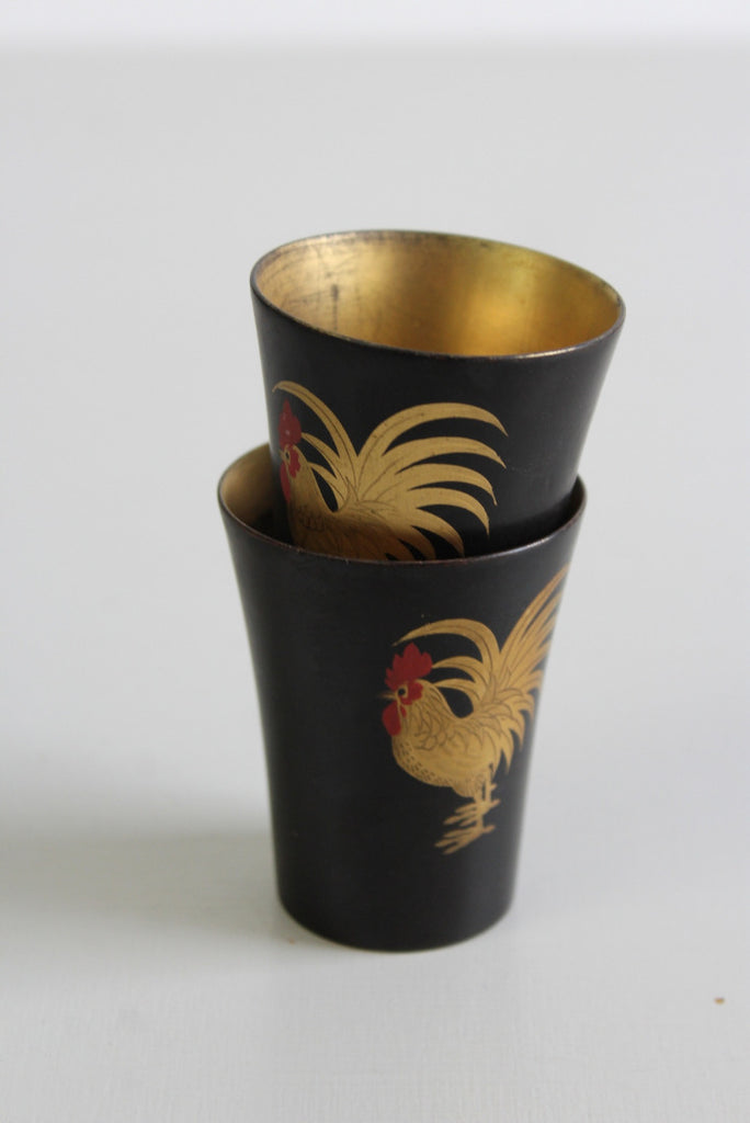 Pair Japanese Black Lacquer Cups - Kernow Furniture