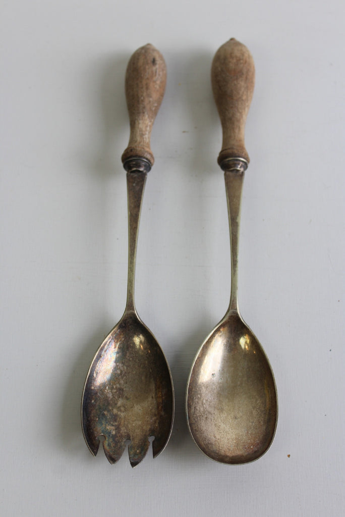 Pair EPNS Salad Servers - Kernow Furniture