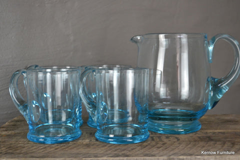 4 Blue Glass Mugs & Jug - Kernow Furniture 100s vintage, retro & antique items in stock