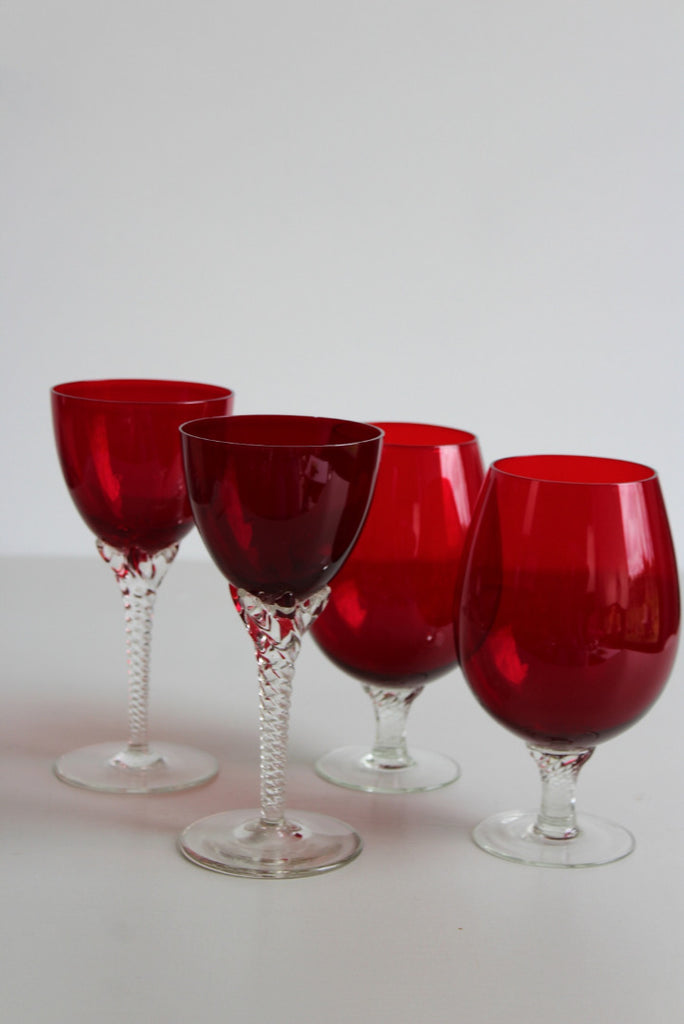 Vintage Retro Ruby Red Glasses - Kernow Furniture