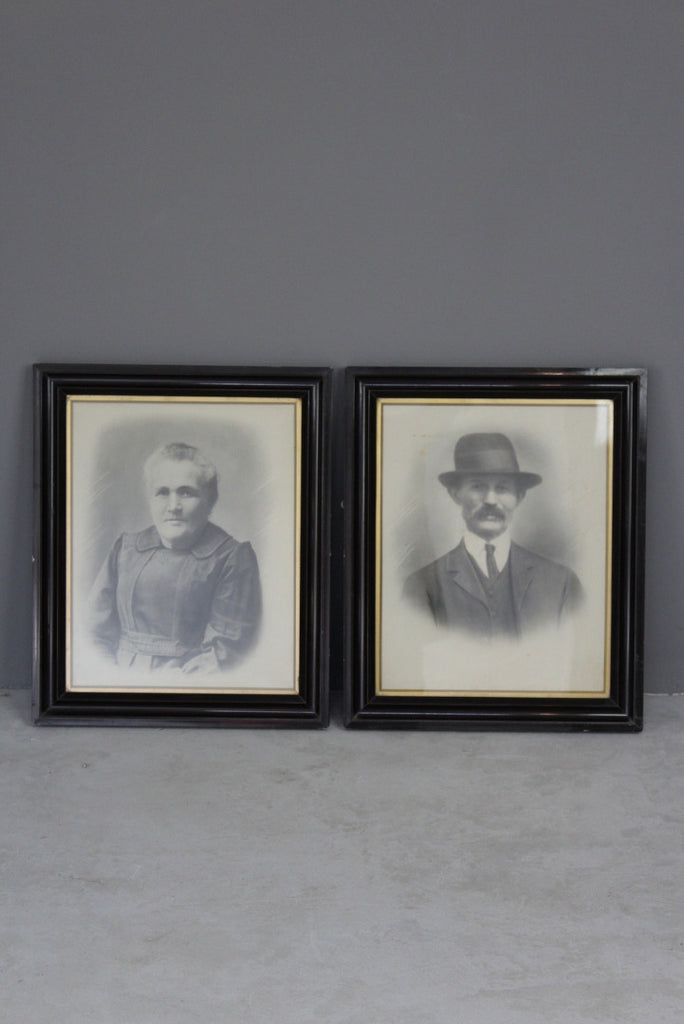 Pair Antique Early 20th Century Portraits - Kernow Furniture