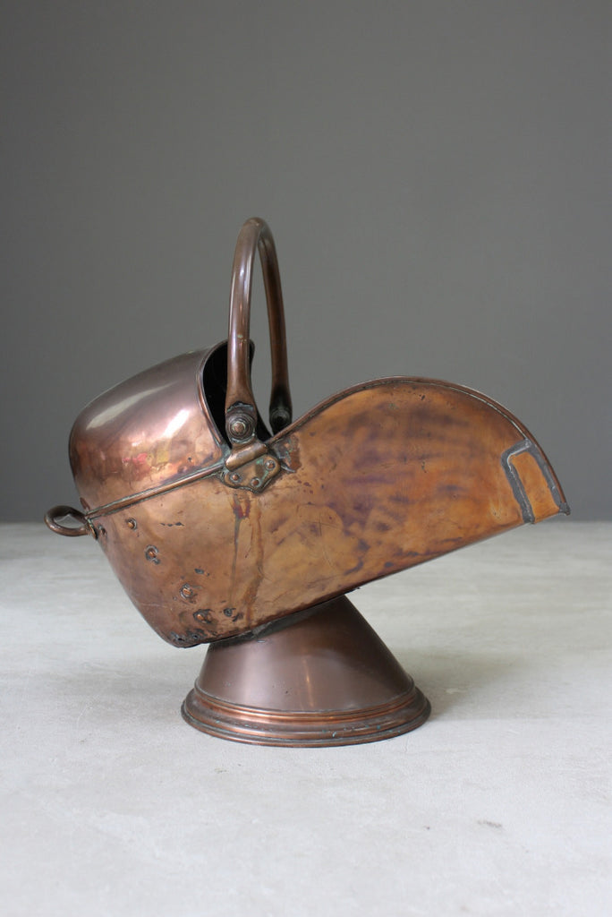 Large Copper Coal Helmet Scuttle - Kernow Furniture