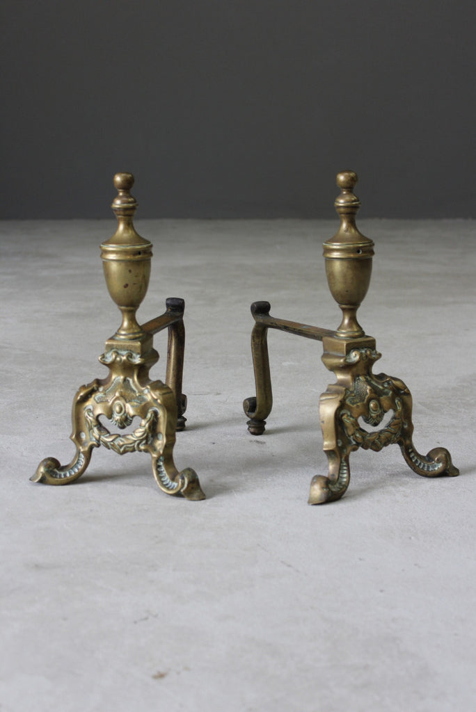 Pair Antique Ornate Brass Fire Dogs - Kernow Furniture