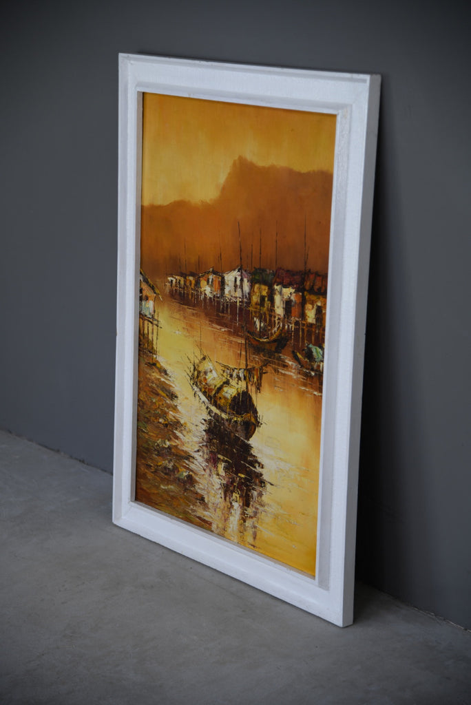 Mid Century Oriental Abstract Oil On Board - Kernow Furniture