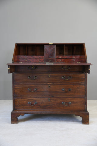 Antique Georgian Mahogany Writing Bureau - Kernow Furniture