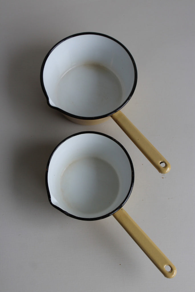 Pair Vintage Enamel Saucepans Milk Pans - Kernow Furniture