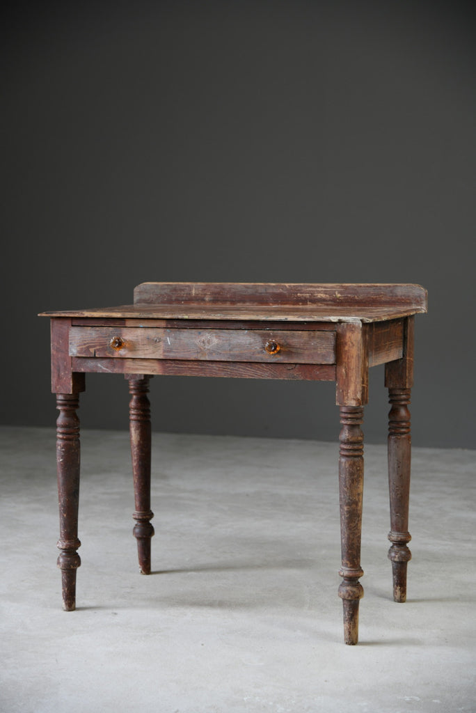 Small Rustic Pine Side Occasional Hall Table - Kernow Furniture