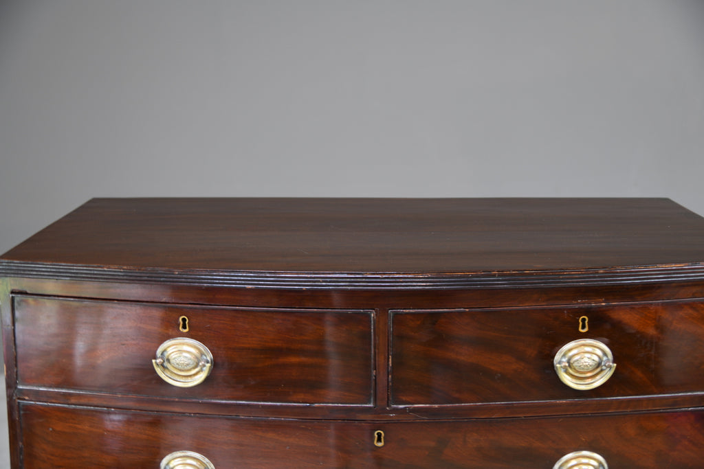 Antique Mahogany Bow Front Chest of Drawers - Kernow Furniture