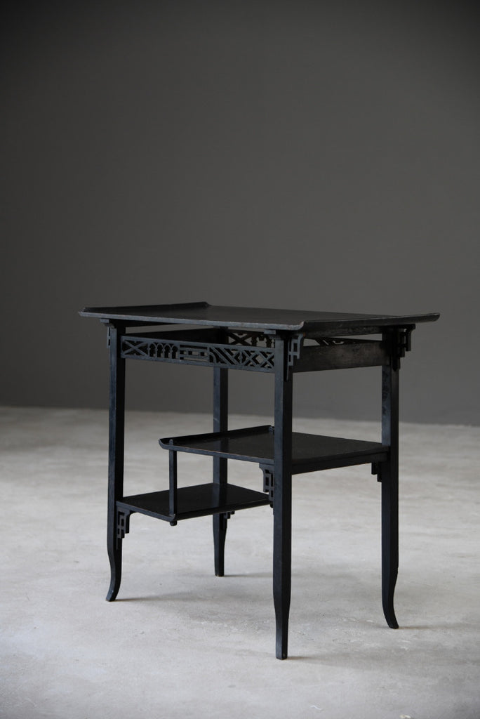 Oriental Style Ebonised Side Table - Kernow Furniture