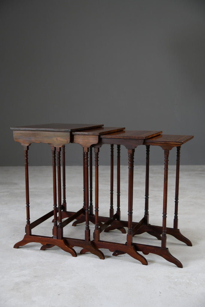 Antique Style Nesting Tables Inlaid Mahogany - Kernow Furniture