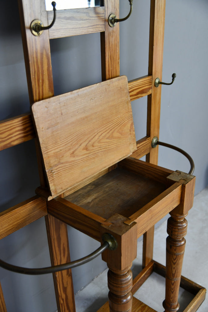 Antique Victorian Pine Hall Coat Hat Stand - Kernow Furniture
