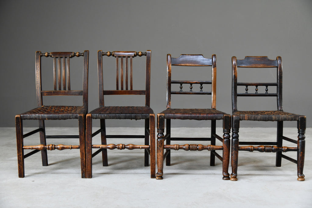 6 Harlequin Oak & Leather Kitchen Chairs - Kernow Furniture
