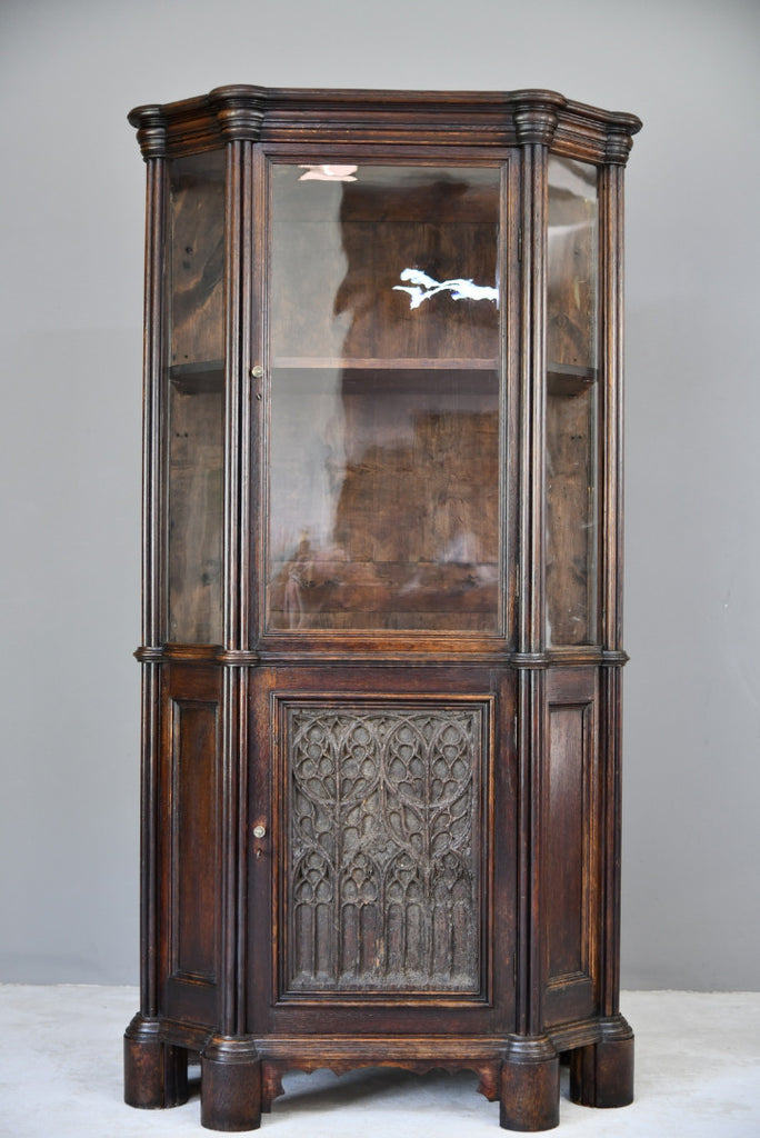 Victorian Oak Glazed Cabinet with 16th Century Panel - Kernow Furniture