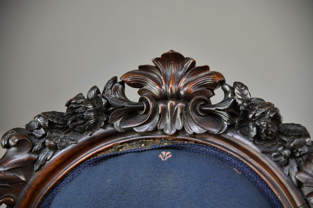 Antique Carved Rosewood Armchair - Kernow Furniture