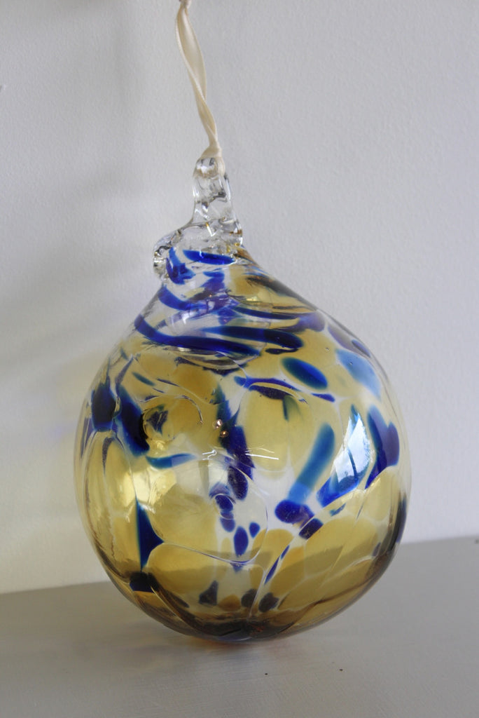 Blue Yelllow Hand Blown Glass Globe - Kernow Furniture