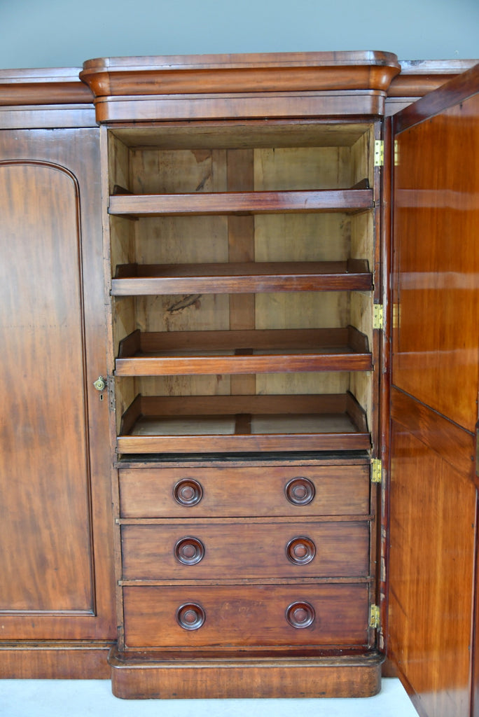 Antique Victorian Mahogany Triple Wardrobe - Kernow Furniture