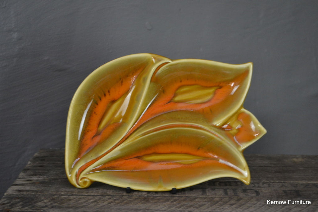 Retro Orange Leaf Dish - Kernow Furniture 100s vintage, retro & antique items in stock
