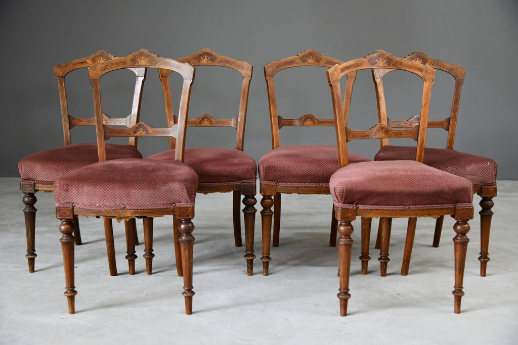 Set 6 Victorian Inlaid Dining Chairs - Kernow Furniture