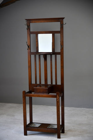 Early 20th Century Oak Hall Stand - Kernow Furniture