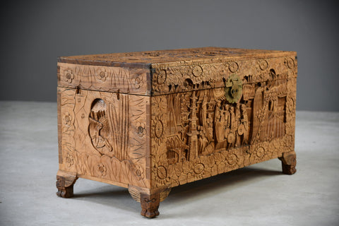 Carved Oriental Camphor Chest - Kernow Furniture