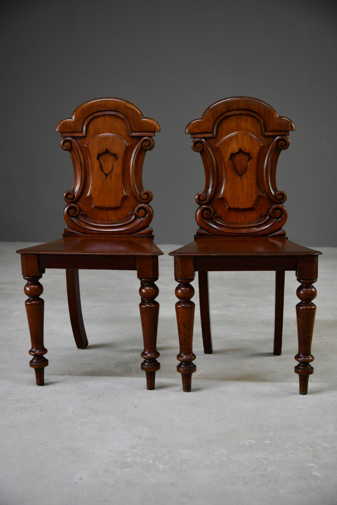 Pair Mahogany Hall Chairs - Kernow Furniture