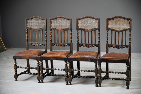 4 Victorian Oak Cane Dining Chairs - Kernow Furniture