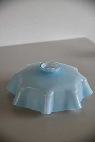 Vintage French Ceiling Pale Blue Glass Lampshade - Kernow Furniture