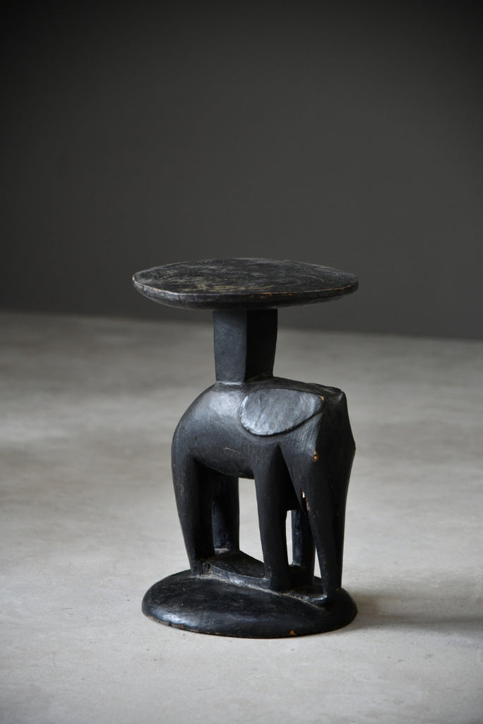 Pair African Carved Elephant Stools - Kernow Furniture
