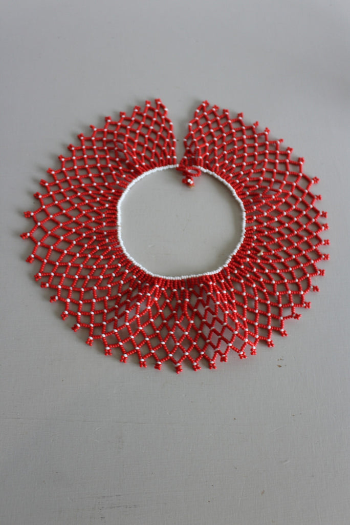 African Red Bead Collar Necklace - Kernow Furniture