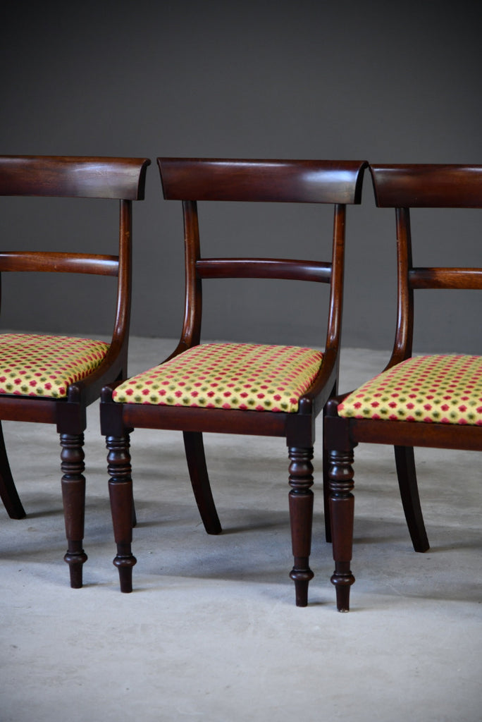 4 Antique Mahogany Bar Back Dining Chairs - Kernow Furniture