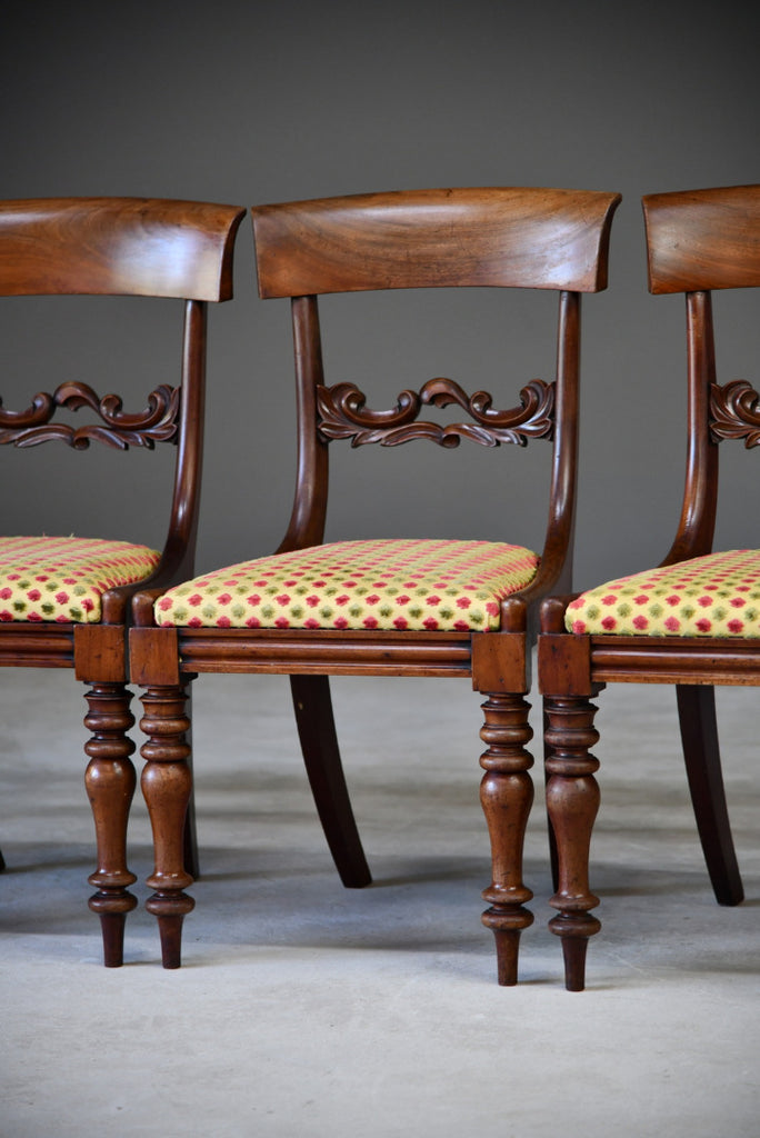 Set 4 Antique Mahogany Dining Chairs - Kernow Furniture