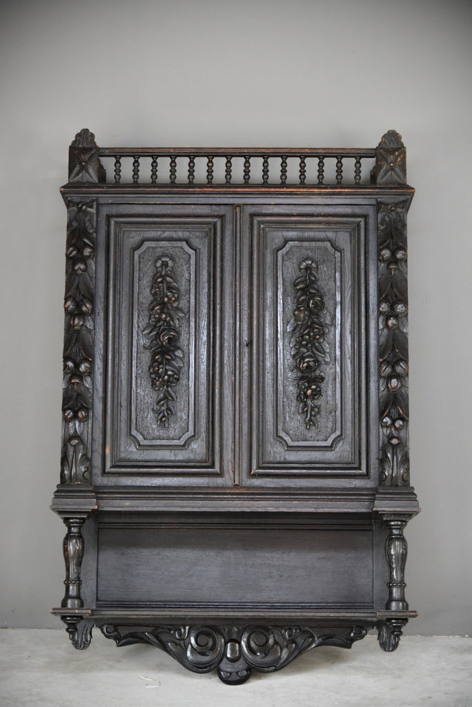 Antique Flemish Carved Oak Wall Cupboard Cabinet Dresser - Kernow Furniture