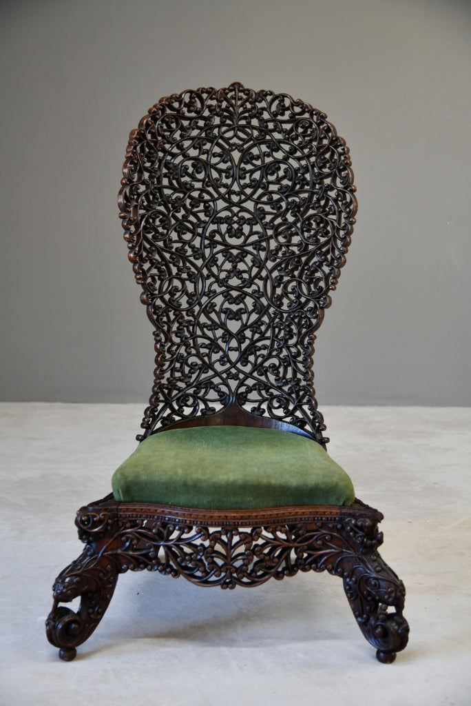 Antique Anglo Indian Carved Occasional Chair - Kernow Furniture