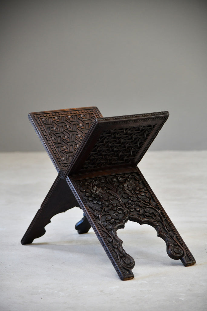 Antique Indian Carved Quran Koran Stand - Kernow Furniture