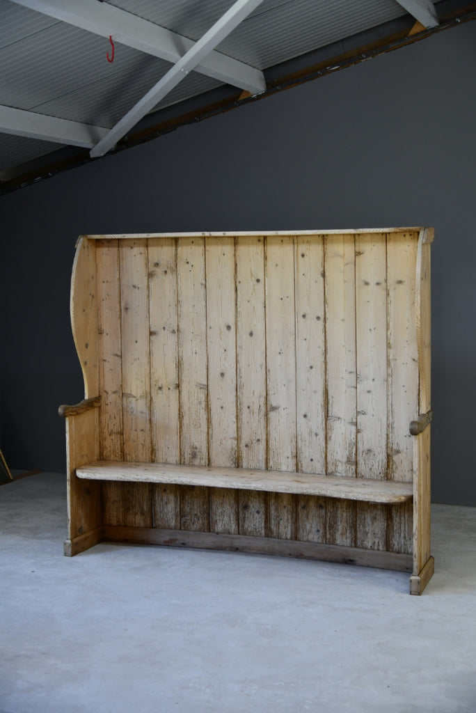 Large Rustic Pine Tavern Settle Bench Seat - Kernow Furniture