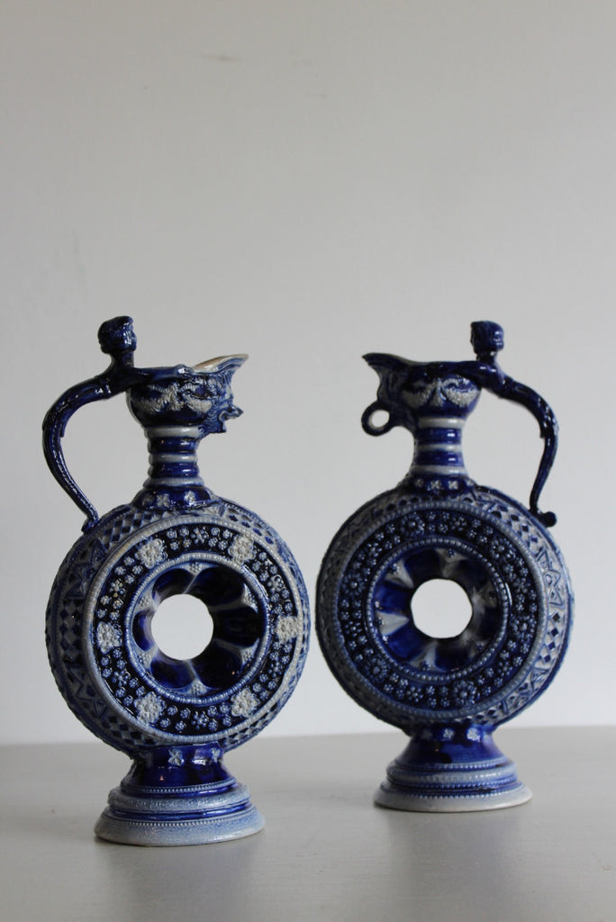 Pair Saltglaze German Westerwald Ewers Decorative Jugs - Kernow Furniture