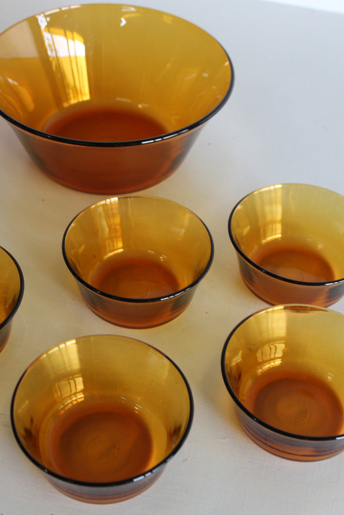 Vintage French Amber Glass Dessert Set - Kernow Furniture