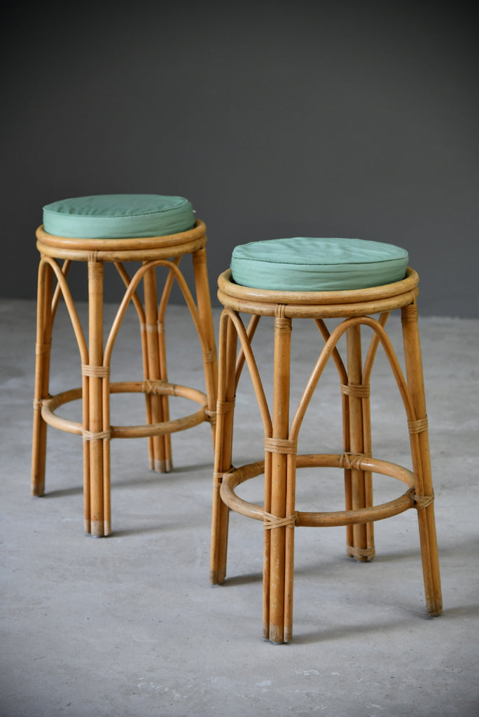 Pair Retro Bamboo Bar Stools - Kernow Furniture